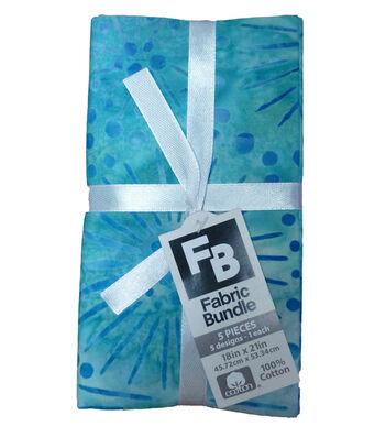 Fat Quarter Cotton Fabric Bundle 18''x21''-Teal Batik