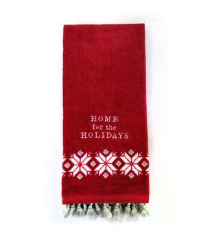 Handmade Holiday Christmas Towel-Fair Isle & Home for the Holidays