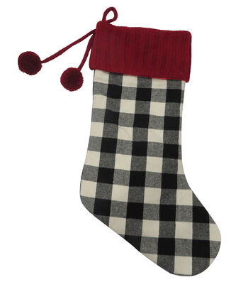 Maker's Holiday Christmas Buffalo Check 21''x12'' Stocking-Plaid