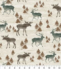Snuggle Flannel Fabric -Wooden Moose