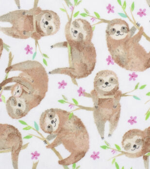 Super Snuggle Flannel Fabric-Sloths
