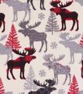 Anti-Pill Plush Fleece Fabric-Aspen Red Black Pattern Trap Moose