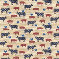 Novelty Cotton Fabric-Americana Farm Animals Wood