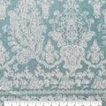 Luxe Fleece Fabric-White Damasks on Blue