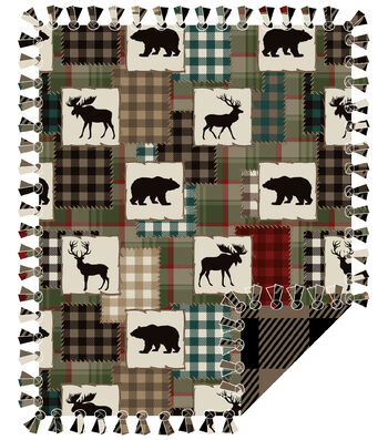 "Fleece No Sew Throw 72""-Bear Lake Patches"