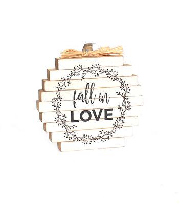 Simply Autumn Pumpkin Word Block-Fall in Love on White