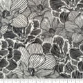 Specialty Luxe Fleece Fabric-Black & White Floral