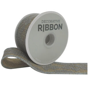 Decorative Ribbon Lace with Burlap1.5''x9'-Gray