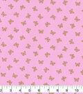 Keepsake Calico Cotton Fabric 43\u0022-Pink Butterfly Metallic