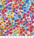 Premium Quilt Cotton Fabric-Rainbow Flowers & Stems