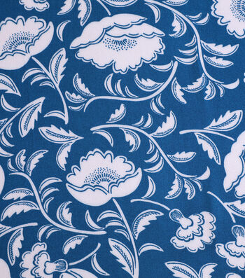 """Silky Crepe Fabric 53""""-Teal & Ivory Folk Floral"""