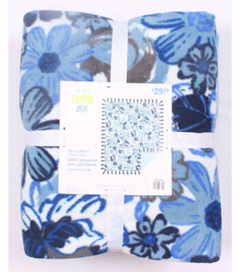 """No Sew Fleece Throw 72""""-Blue Sketched Floral"""