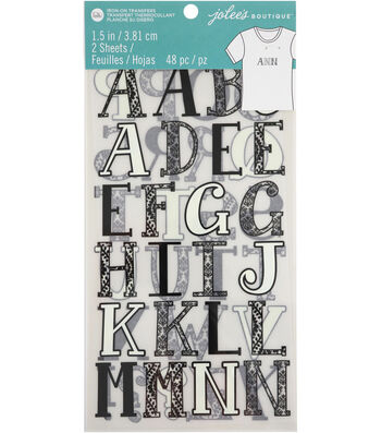 Jolee's Boutique 48 pk 1.5'' Letters Iron-on Transfers-Black & White