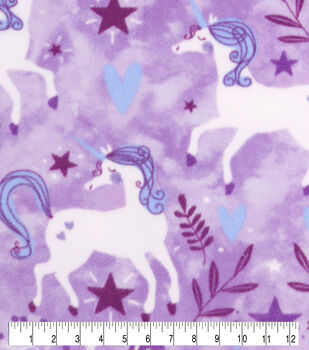 Anti-Pill Plush Fleece Fabric-Happy Unicorn Purple