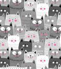 Anti-Pill Fleece Fabric -Happy Gray Cats