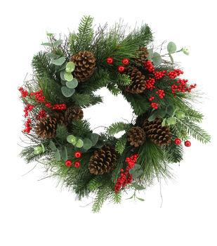 Handmade Holiday Christmas Pine, Eucalyptus, Pinecone & Red Berry Wreath