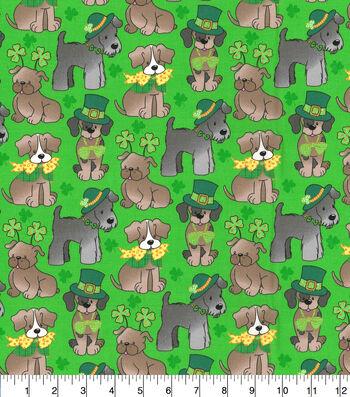 St. Patrick's Day Cotton Fabric-Pups Glitter
