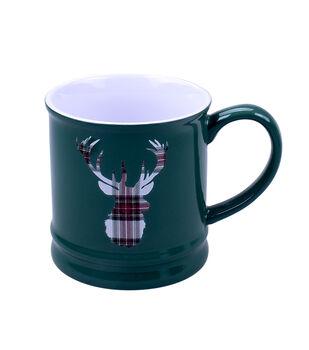 Handmade Holiday Christmas 16 oz. Stoneware Mug-Tartan Deer