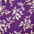 Silky Print Textured Fabric-Purple & Yellow Floral Cluster