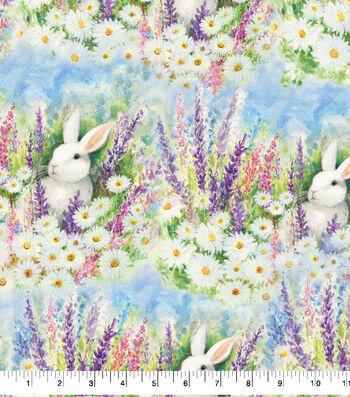Easter Cotton Fabric -Garden Bunnies