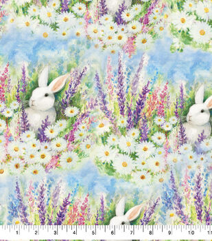 Easter Cotton Fabric-Garden Bunnies