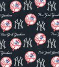 New York Yankees Cotton Fabric-Glitter Logos