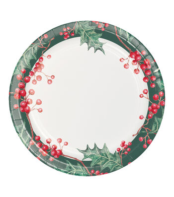 Maker's Holiday Christmas 8 pk 9'' Paper Dinner Plates-Cardinal Wishes