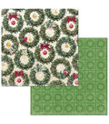 Christmas In The Village Double-Sided Cardstock 12\u0022X12\u0022-Wreaths