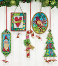 Jingle Bell Ornaments Counted Cross Stitch Kit-8-1/4\u0022X11\u0022 14 Count Set Of 5