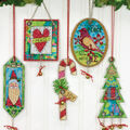 Jingle Bell Ornaments Counted Cross Stitch Kit-8-1/4\u0022X11\u0022 14 Count Set Of 5