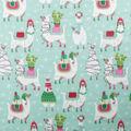 Anti-Pill Plush Fleece Fabric-Christmas Party Llama