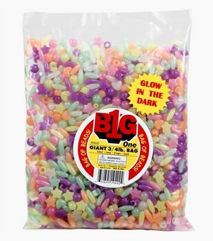 Giant 3/4Lb Pony Beads, Assorted Styles-Glow in the Dark