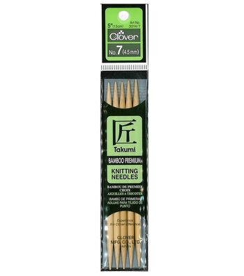 "Takumi Bamboo Double Point Knitting Needles 5"" 5/Pkg-Size 7/4.5mm"