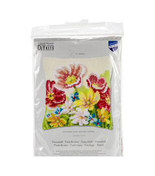 Vervaco Needlepoint Cushion Top Kit 16''X16''-Summer Flowers Stitched
