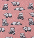 Blizzard Fleece Fabric-Panda on Pink