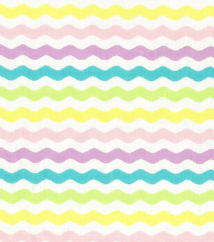 Easter Cotton Fabric-Rick Rack Stripe Pastel