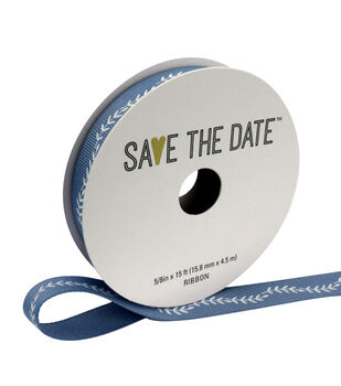 "Save the Date 5/8"" x 15ft Ribbon-White Fern On Grey Blue"