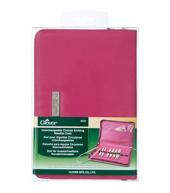 Clover Interchangeable Circular Knitting Needles Case-Pink