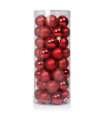 Maker's Holiday Christmas 48 pk 30 mm Shatterproof Ornaments-Red Solid