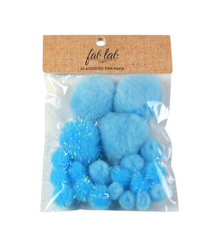 Fab Lab Craft 20 pk Assorted Tinsel Pom Poms-Blue