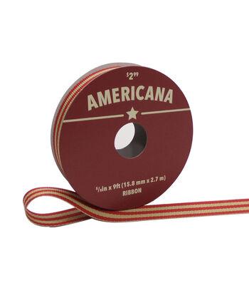"Americana Ribbon 5/8""x9'-Red & Tan Stripes"