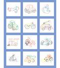 Fairway Stamped Baby Quilt Blocks Toy Vehicle