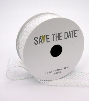 "Save the Date 1.5"" x 15ft Ribbon-Textured Irridescent Glitter"
