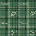 University of South Florida Bulls Fleece Fabric -Plaid