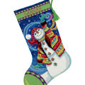 Happy Snowman Stocking Needlepoint Kit-16\u0022 Long Stitched In Wool & Thread