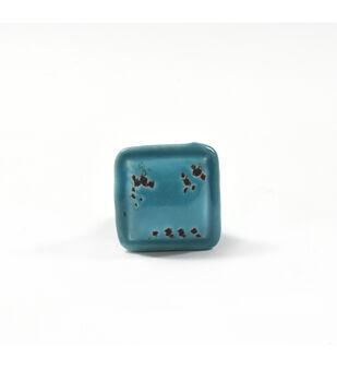 Dritz Home Ceramic Distressed Square Knob-Turquoise