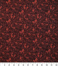 Harvest Cotton Fabric-Leaf Scrolls on Brown