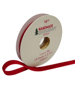 Handmade Holiday Christmas Velvet Ribbon 3/8''x9'-Red