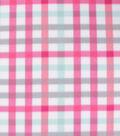 Blizzard Fleece Fabric-Pink & Aqua Plaid