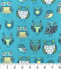 Snuggle Flannel Fabric -Nature Owl Green